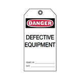 Brady Lockout Tag Danger Defective Equipment 76172
