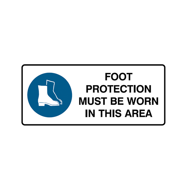 Brady Mandatory Landscape Signs: Foot Protection Must Be Worn In This Area