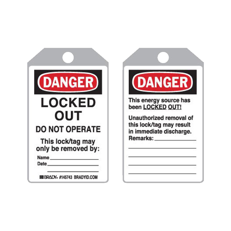 Brady Plastic Encapsulated Toughwash® Lockout Tag - Locked Out PKT 10 877208