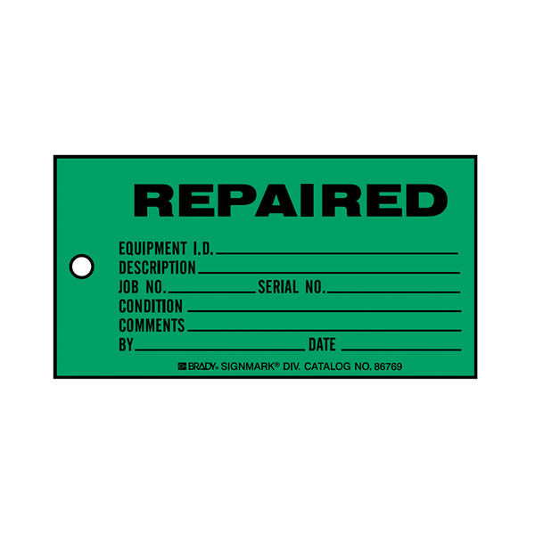 Brady Production Status Tag Repaired 86778
