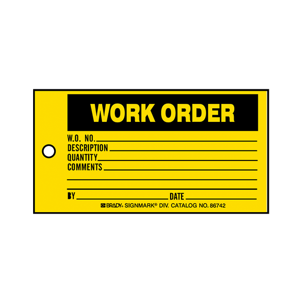 Brady Production Status Tag Work Order 86742