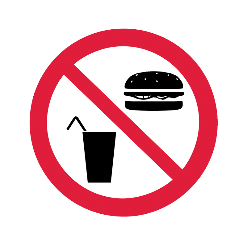 Brady Prohibition Pictograms: No Food