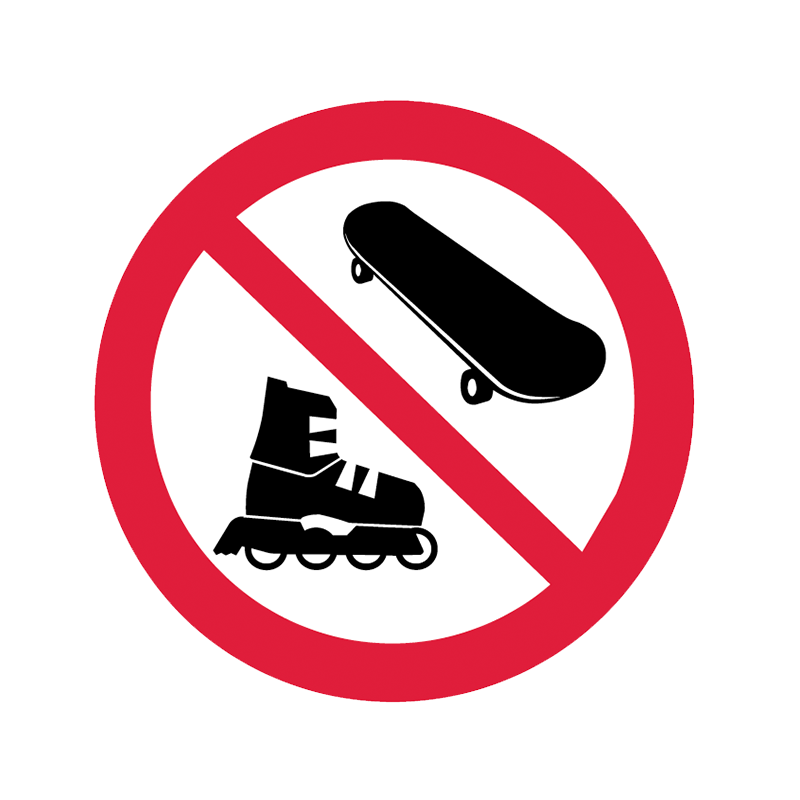 Brady Prohibition Pictograms: No Skates / Boards