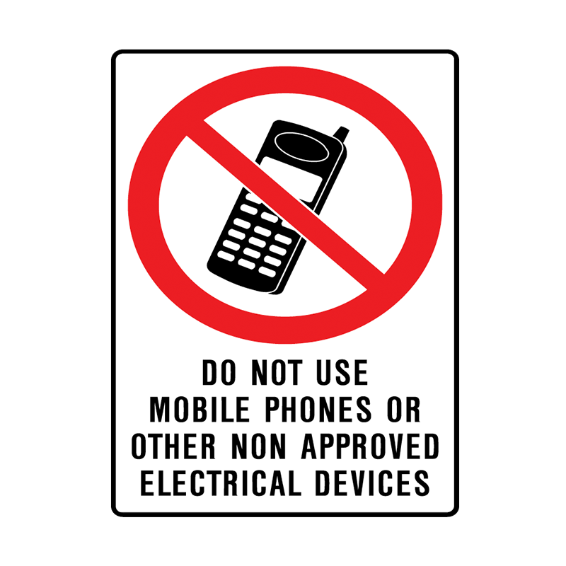 Brady Prohibition Sign: Do Not Use Mobile Phones Or Other Non Approved Electrical Devices