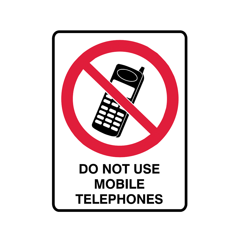 Brady Prohibition Sign: Do Not Use Mobile Telephones