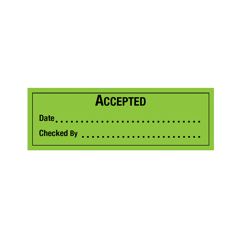 Brady Quality Assurance Label Accepted 30x90