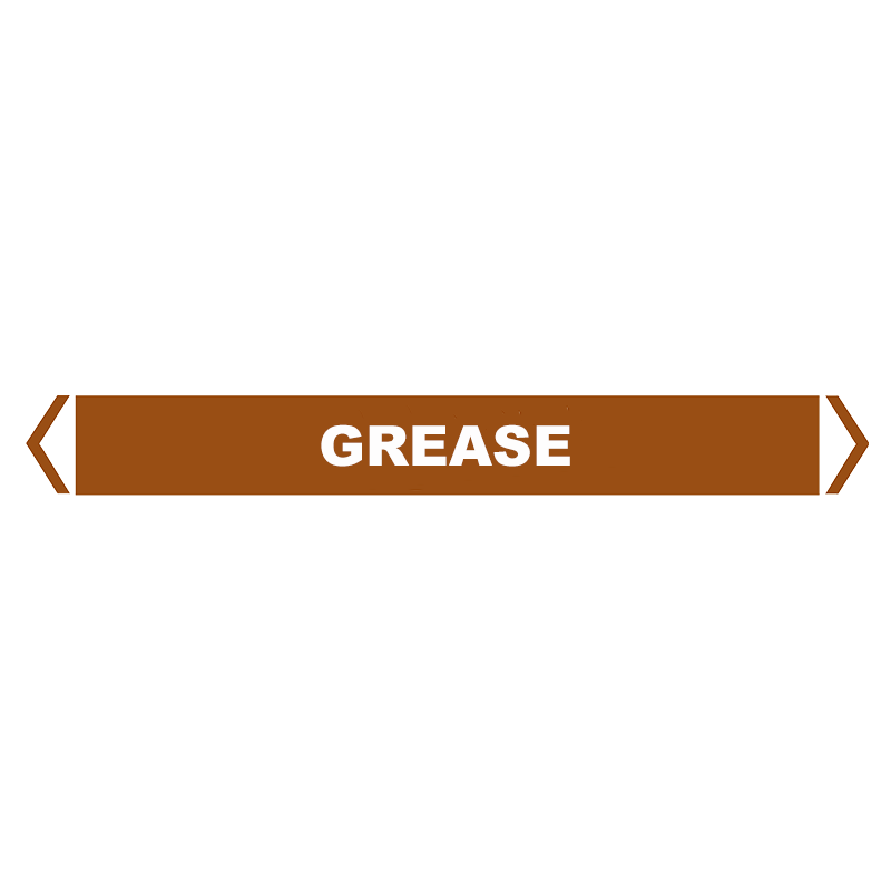 Brady Self Sticking Vinyl Pipe Marker Range - Grease