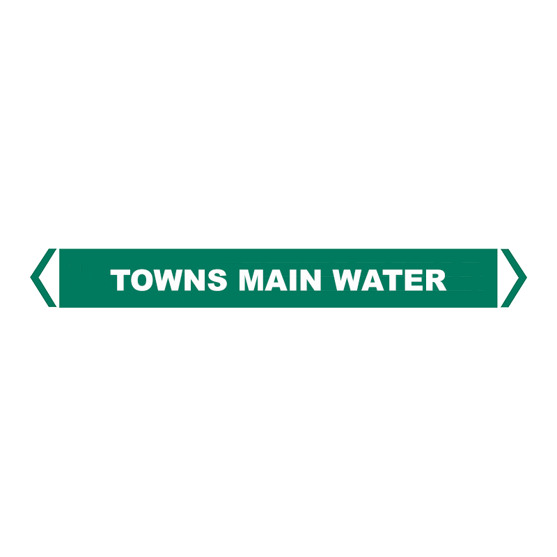 Brady Self Sticking Vinyl Pipe Marker Range - Towns Main Water