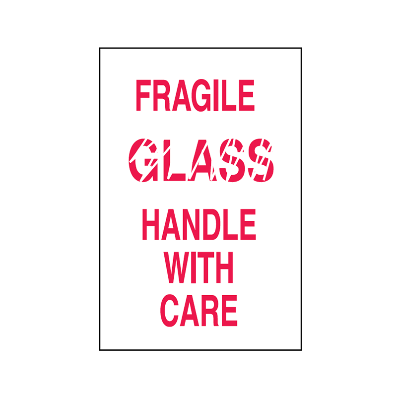 Brady Shipping Label Fragile Glass Handle with Care 100x150 500 per Roll 834450