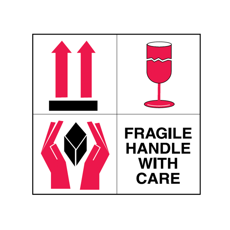 Brady Shipping Label Fragile Handle with Care 100x100 500 per Roll 834442