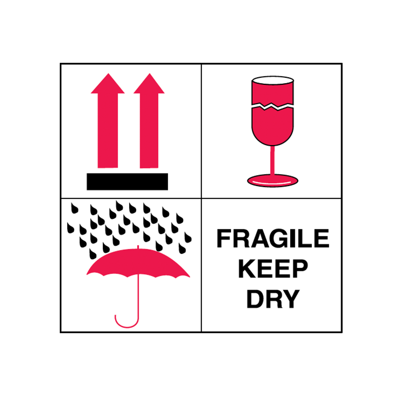 Brady Shipping Label Fragile Keep Dry 100x100 500 per Roll 834441