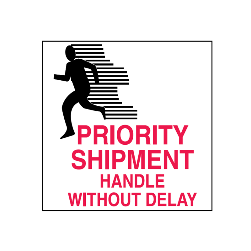 Brady Shipping Label Priority Shipment 100x100 500 per Roll 834429
