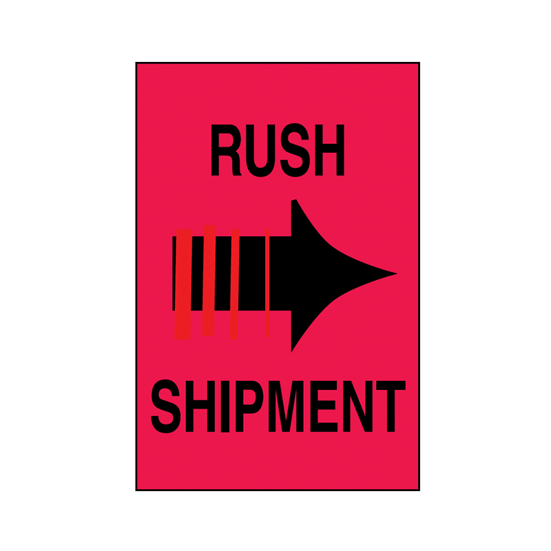 Brady Shipping Label Rush Shipment 100x150 500 per Roll 834417
