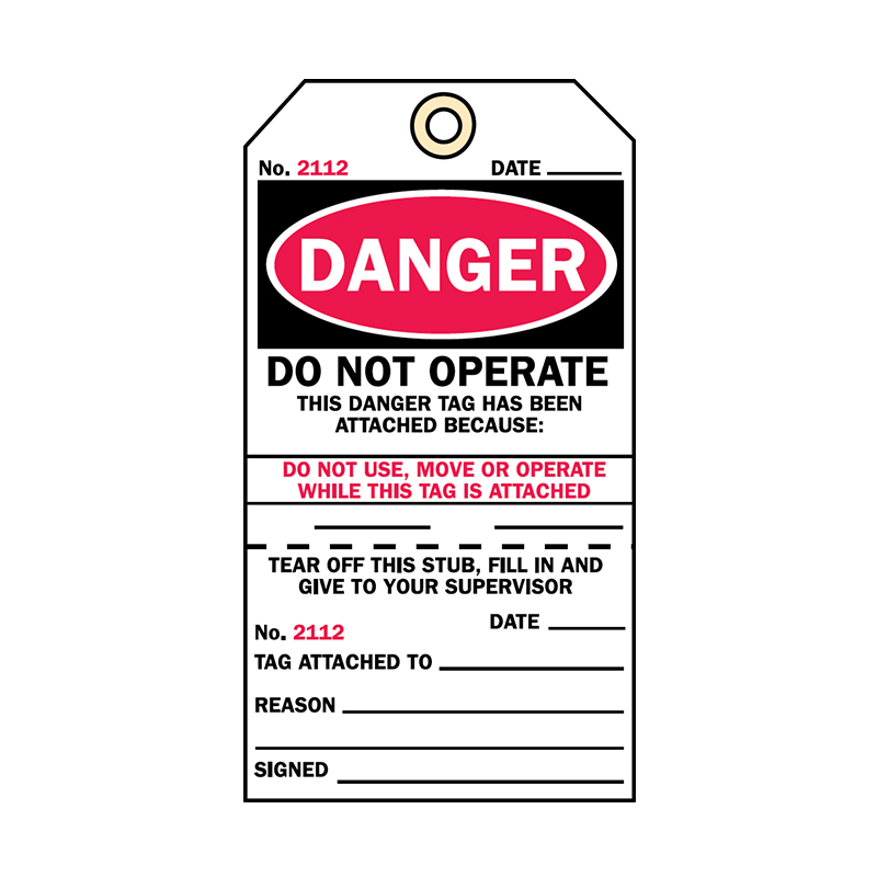 Brady Two Part Production Tag Danger Do Not Operate 850591
