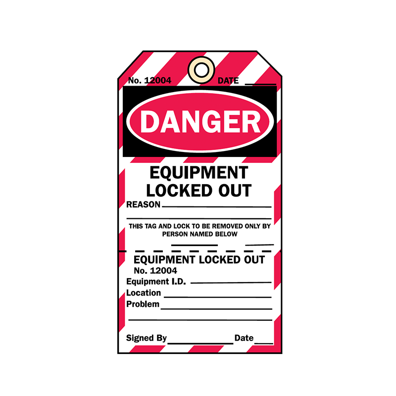 Brady Two Part Production Tag Danger Equipment Locked Out 848030