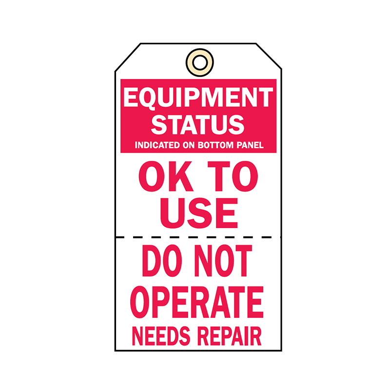 Brady Two Part Production Tag Equipment Status 848033