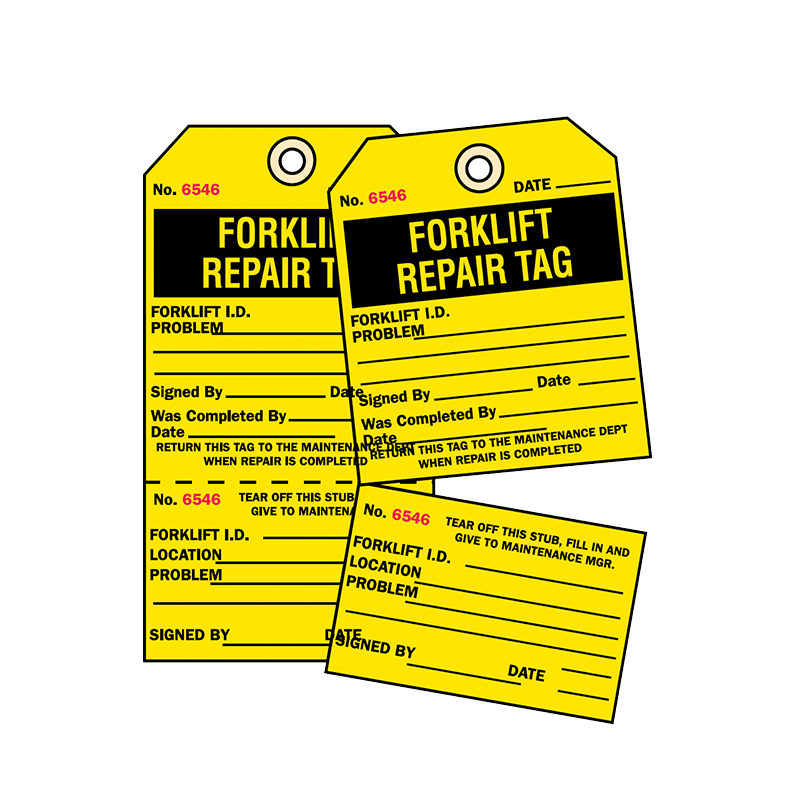 Brady Two Part Production Tag Forklift Repair 848029