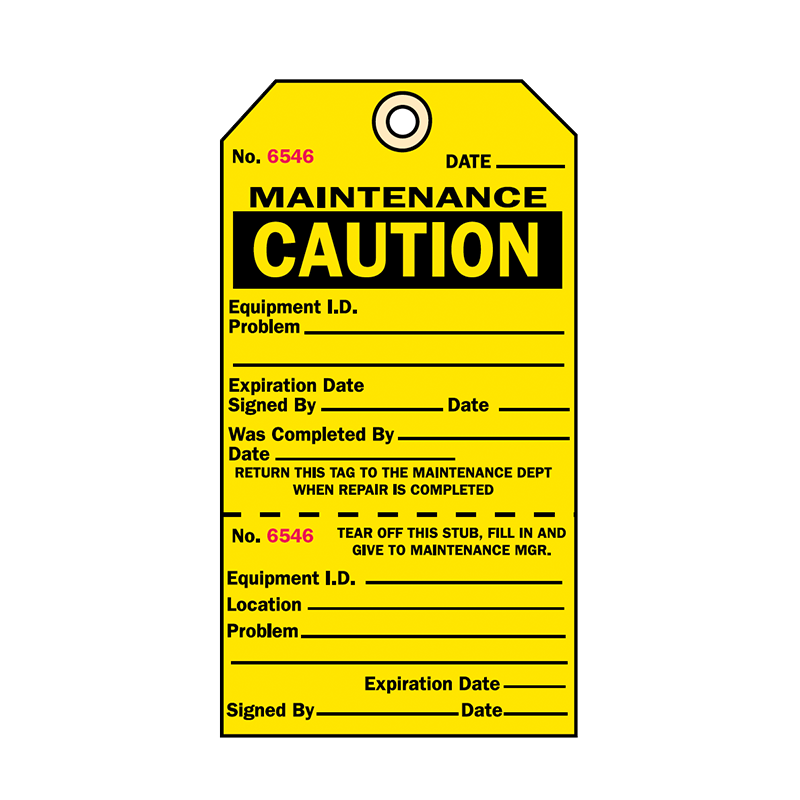 Brady Two Part Production Tag Maintenance Caution 848032