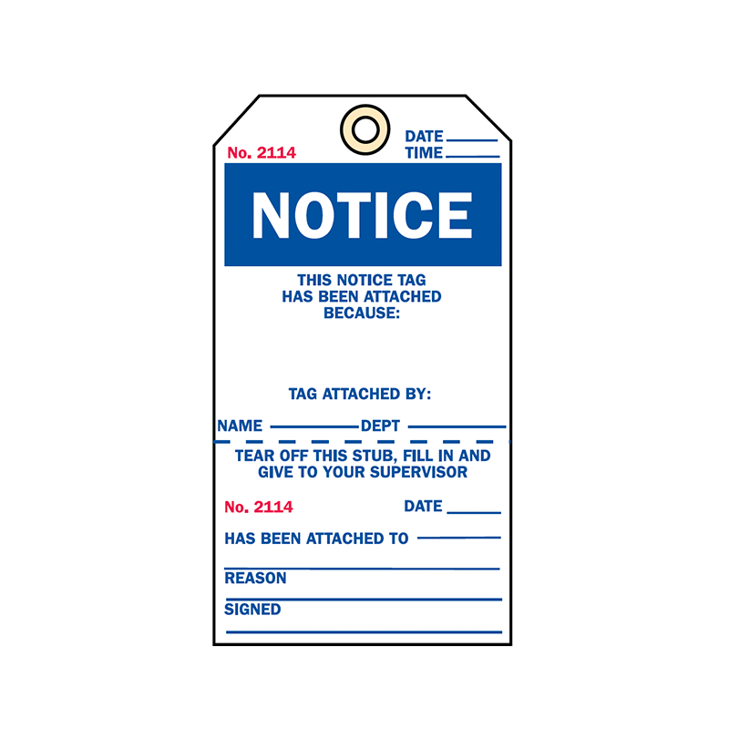 Brady Two Part Production Tag Notice 848031