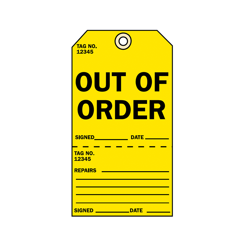 Brady Two Part Production Tag Out of Order 848026
