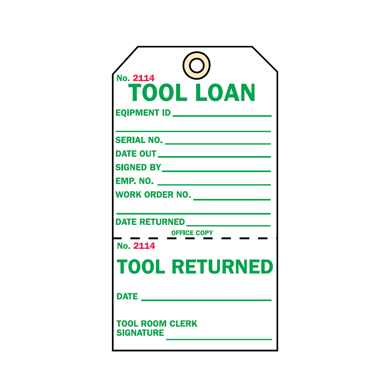 Brady Two Part Production Tag Tool Loan 848027