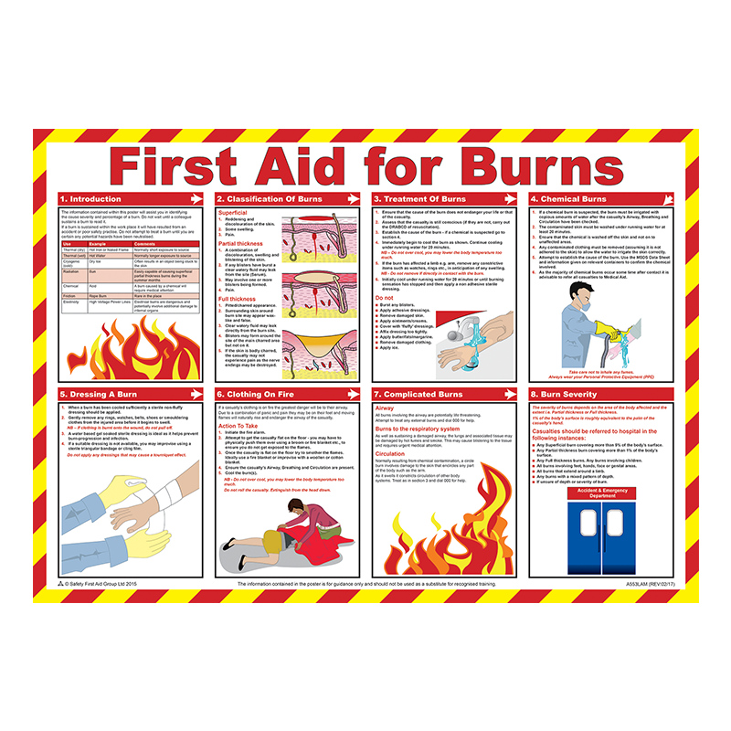 Brady Workplace Safety Poster First Aid for Burns 844187