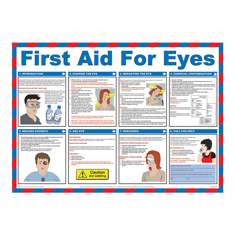 Brady Workplace Safety Poster First Aid for Eyes 844189