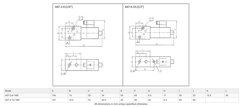 "Dimensions - GO Solenoid Valve 1/4"" and 1/2"" A67 Aluminium High Pressure 3 Way 2 Position Normally Open"