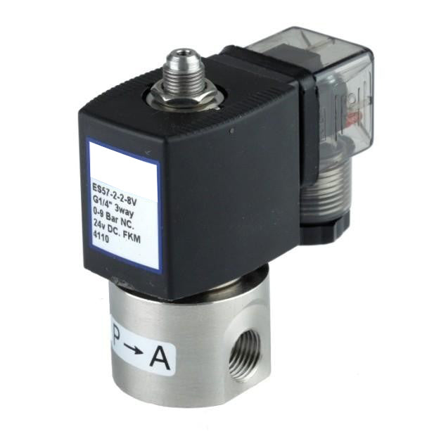 "GO Solenoid Valve 1/4"" ES58 304 Stainless 3 Way Direct Acting Normally Open"