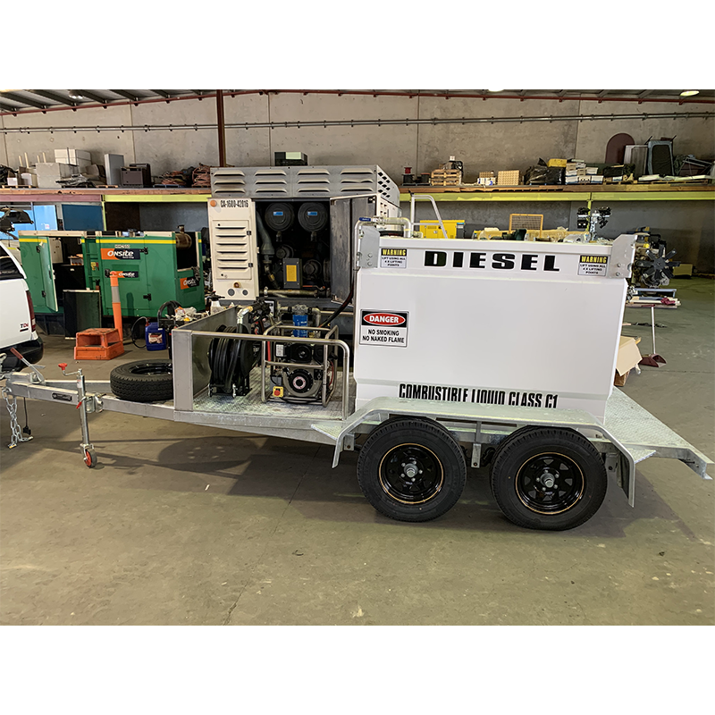 FUEL TRAILER 1000L Self Bunded Galvanised Dual Axle SBSD1000 fitted with electric start diesel driven dispensing kit