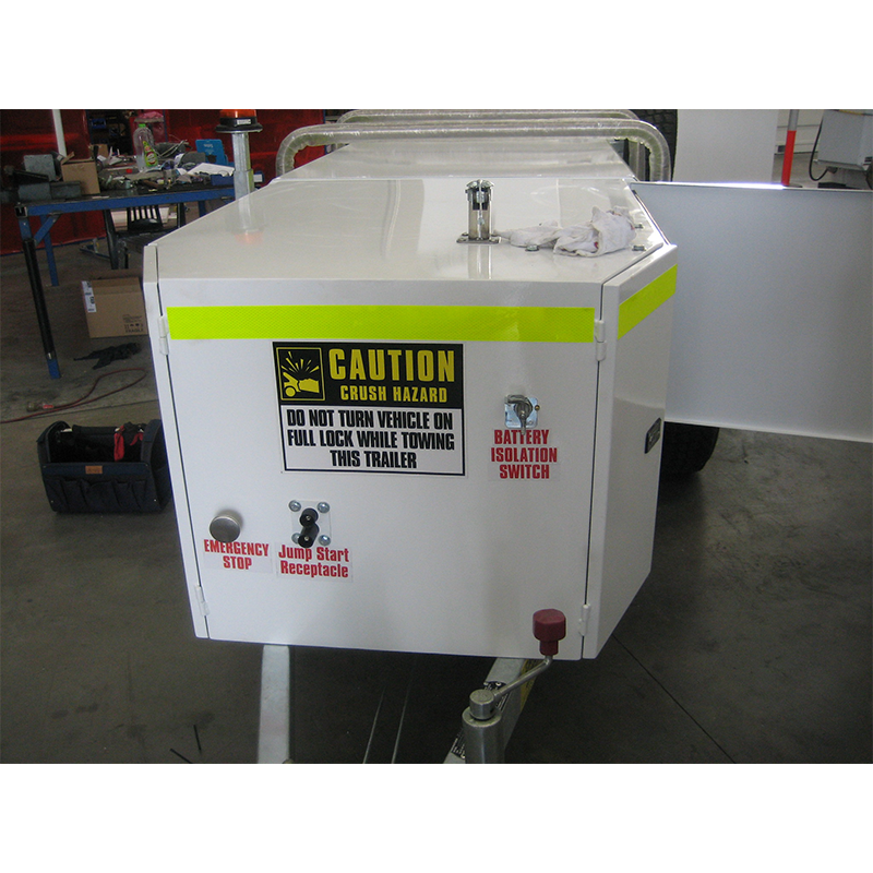 Optional Mining Package fitted to iFUEL 1250L Self Bunded Fuel Trailer in including Battery Isolator, Jump Start Receptacle, Emergency Stop