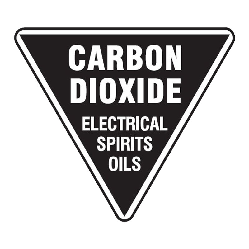 Brady Fire Marker / Disk Signs - Carbon Dioxide Electrical Spirits Oils