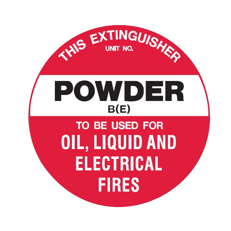 Brady Fire Marker / Disc Signs - This Extinguisher Powder (For Oil, Liquid & Electrical Fires)