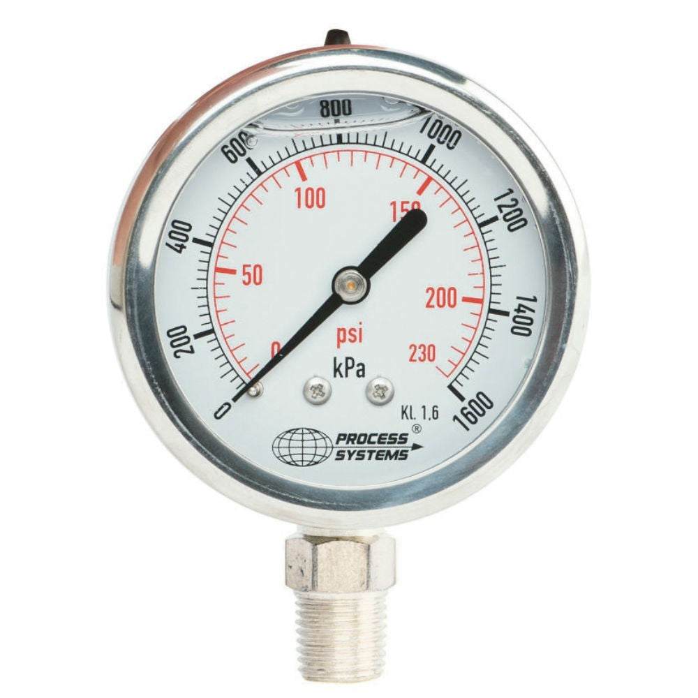 "GO Pressure Gauge 100mm 1/4"" BSP Bottom Entry 316 SS GAU100BS Range"