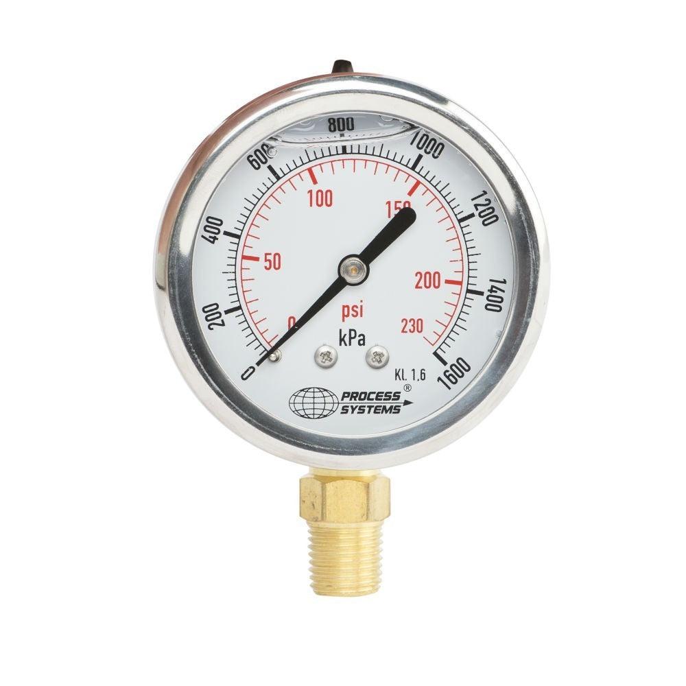"GO Pressure Gauge 100mm 1/4"" BSP Bottom Entry 304 SS Case GAU100B Range"