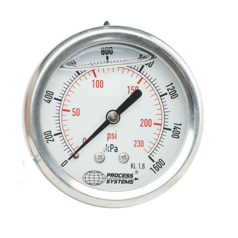 "GO Pressure Gauge 40mm 1/8"" BSP Rear Entry 304 SS Case GAU40R-1000"