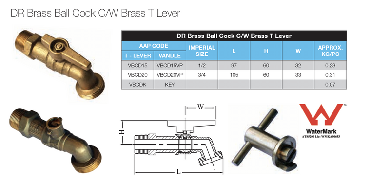 Dimensions - GO Brass Ball Cock Range DR Scr BSP T Lever Watermark Approved