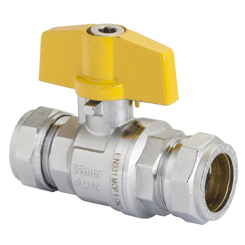 GO Brass Ball Valve Range T Handle Flared Ends Gas Approved