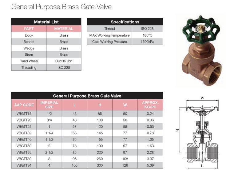 Dimensions - GO Brass Gate Valve Range General Purpose Scr BSP