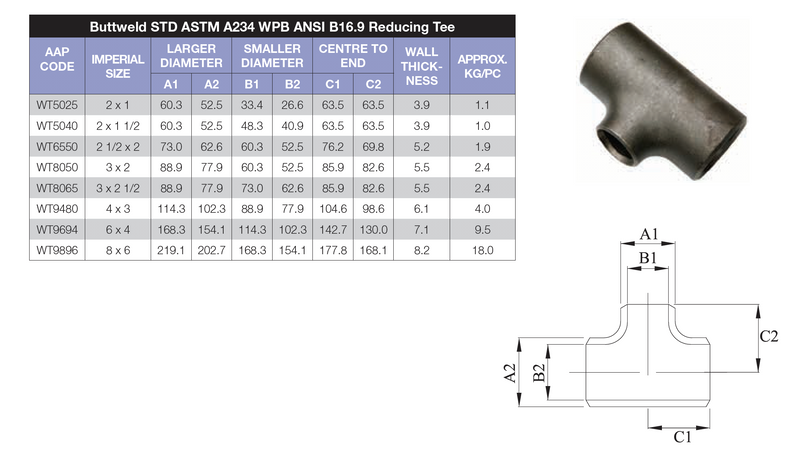 Dimensions - GO Carbon Steel Buttweld Reducing Tee Range Schedule 40 ASTM A234 WPB ANSI B16.9