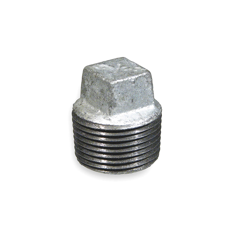 GO Galvanised Malleable Iron Square Head Plug Range Scr BSP BS EN 10242