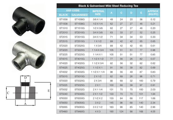 Dimensions - GO Black Steel Reducing Tee Range Scr BSP BS EN 10241