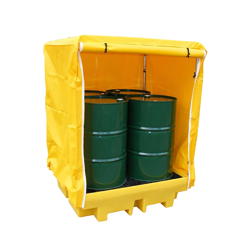 GO Industrial 4-DRUM SPILL PALLET FRAMED COVER W-ZIP DOOR TSSBP4LFC