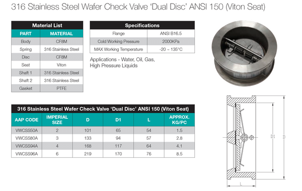 Dimensions - GO Stainless Wafer Check Valve Range Dual Disc Viton Seat ANSI 150