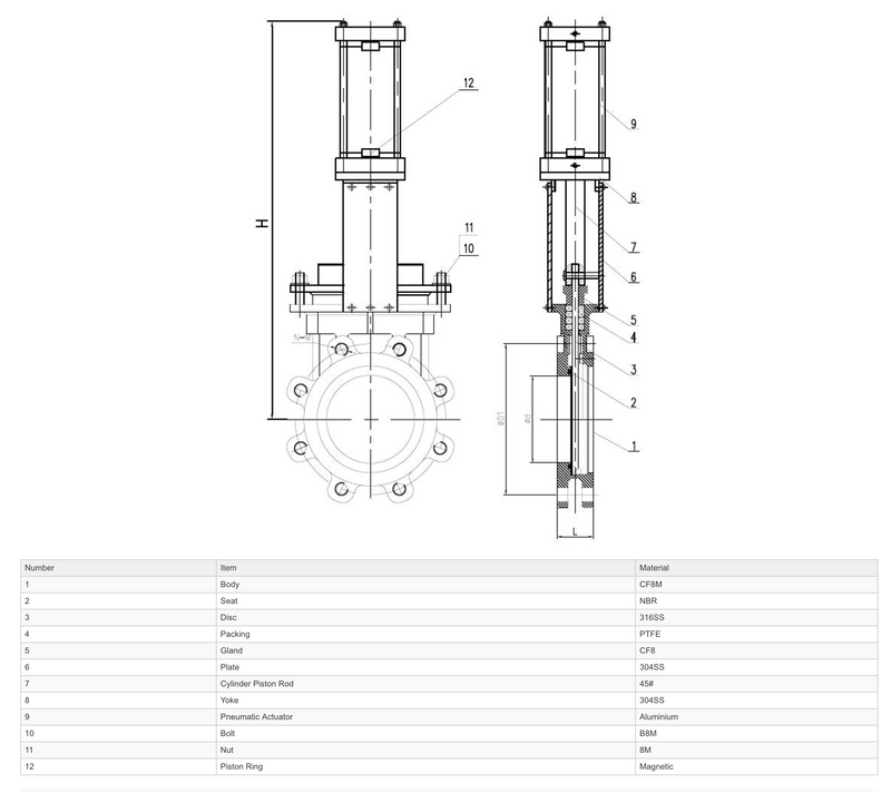Construction - GO Knifegate Valve Actuated Double Acting Pneumatic 316 Stainless KGSDA Range