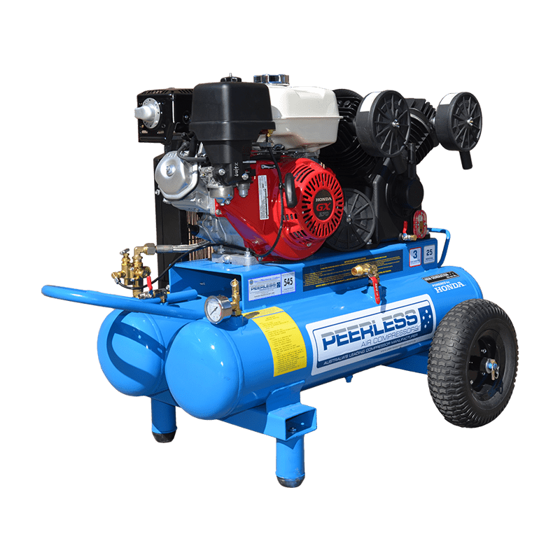 Peerless Air Compressor Petrol Twin Tank PV25 545LPM 00563