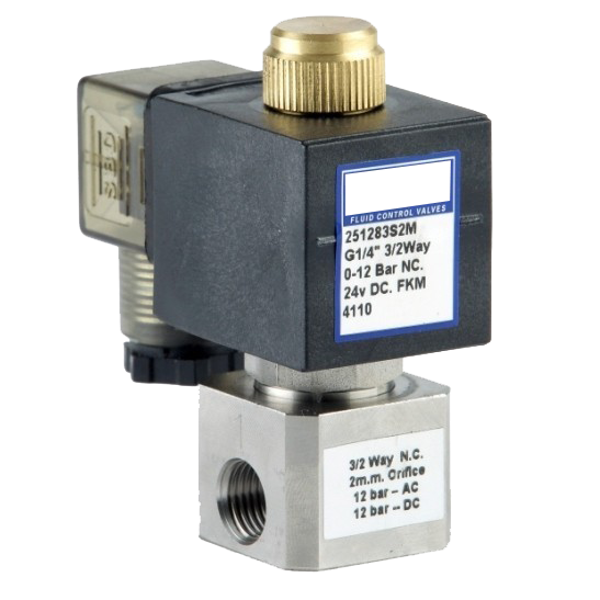 "GO Solenoid Valve S25 1/4"" Stainless Direct Acting Normally Closed"