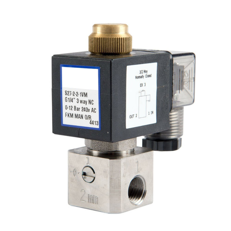 "GO Solenoid Valve 1/4"" S27 304 Stainless 3 Way 2 Position Direct Acting Normally Closed"