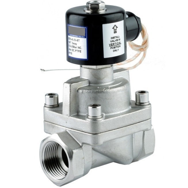 "GO Solenoid Valve 1/2"" to 2"" SS75 316 Stainless Steam and High Temp Normally Closed Range"