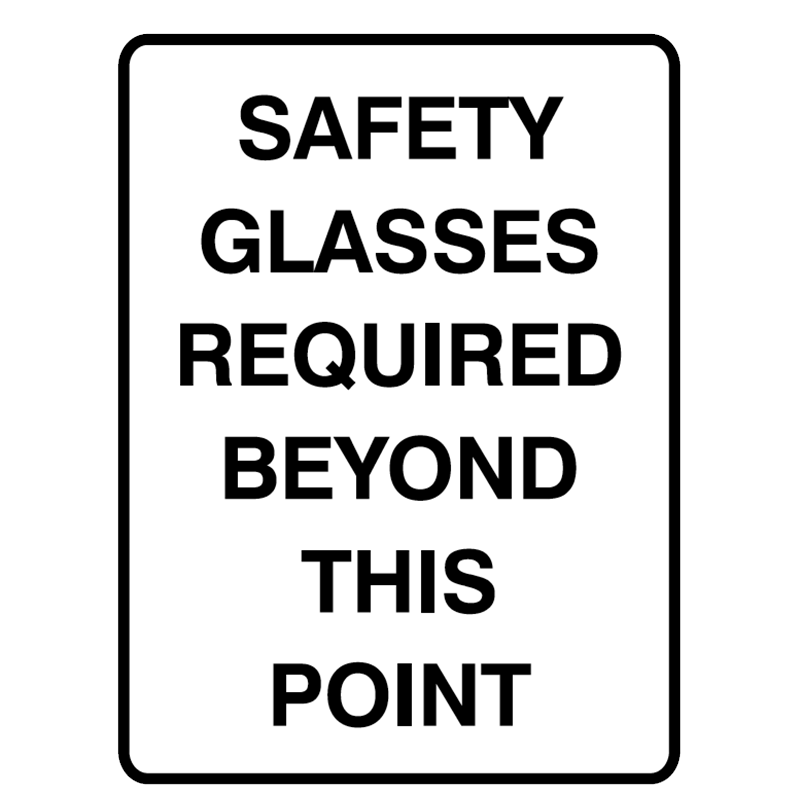 Brady Mandatory Signs Safety Glasses Required Beyond This Point